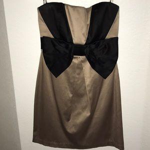 Satin Strapless  Bow Dress